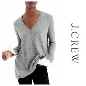 J. Crew V-Neck Sweater with Shirt Sleeves